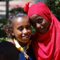 Muslim and Christian Girl outside National Museum of Ethiopia - Addis Ababa - Ethiopia