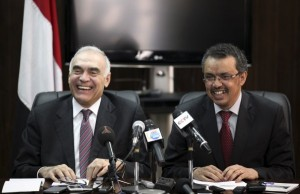 Egyptian Foreign Minister Kamel Amr and his Ethiopian counterpart Adhanom attend a session of the talks over the Nile Dam in Ethiopia's capital Addis Ababa