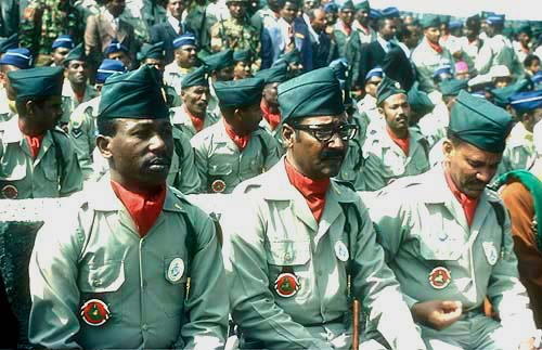 Revolution Day 1975 the Dergue with Menghistu, left, Yeferi Bentre, centre and Abate right. Addis Ababa. Ethiopia. Military junta. Ruling Council.