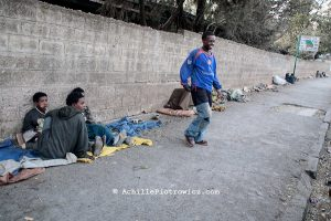 Homeless boys of Addis Ababa. Ethiopia 27-03-08.../// In Addis Ababa 85% of the population lives in slums, about 21% of people in the capital city are living on less than 1 dollar per day. Migration to urban areas is usually motivated by the hope of better living conditions. Society growth, migration, and urbanization are straining governments capacity to provide people basic services. Poverty and health conditions are getting worse. Over than 120.000 people live without house, 18% are kids, with ages between 7 and 20 years old. Severals NGOs supply the problem by various support programs. Italian organization provide by the help of young street artistes with circus therapy project.